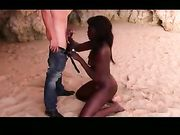 Amateur interracial sex with black girl at the beach